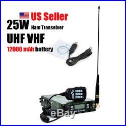 25W ham amateur radio transceiver dual band V/U 12000 mAh battery Dual-PTT MIC
