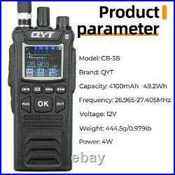 QYT CB-58 Walkie Talkie 27MHz AM/FM CB Ham Radio Transceiver Handheld 4W 4100mAh