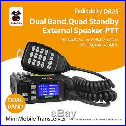 Radioddity DB25 Pro Dual Band Mobile Car Radio VHF UHF 25W with Quad Band Antenna