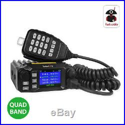 Radioddity QB25 Pro Quad Band Mobile Car Radio VHF UHF 25W with Quad Band Antenna